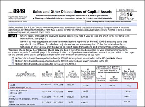 form 8949 irs in the following form 8949 exle the highlighted section