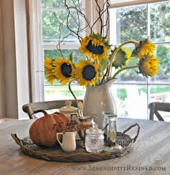 kitchen table decor ideas serendipity refined inside the farmhouse fall decorating with pumpkins pinecones
