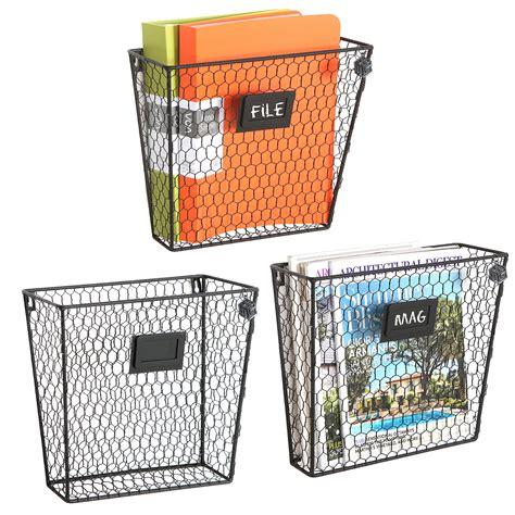 set   wall mounted rustic black metal wire mail sortermagazine rack ebay
