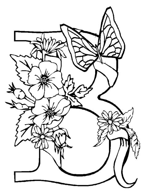 alphabet flower coloring page coloring home