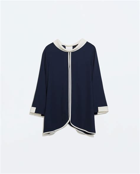 zara blouse zara blouse with high collar in blue lyst