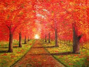 """""""Fall Trees on a Beaten Path"""" Painting"""