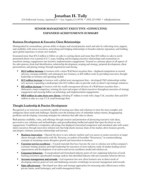 executive summary exle for resume senior management