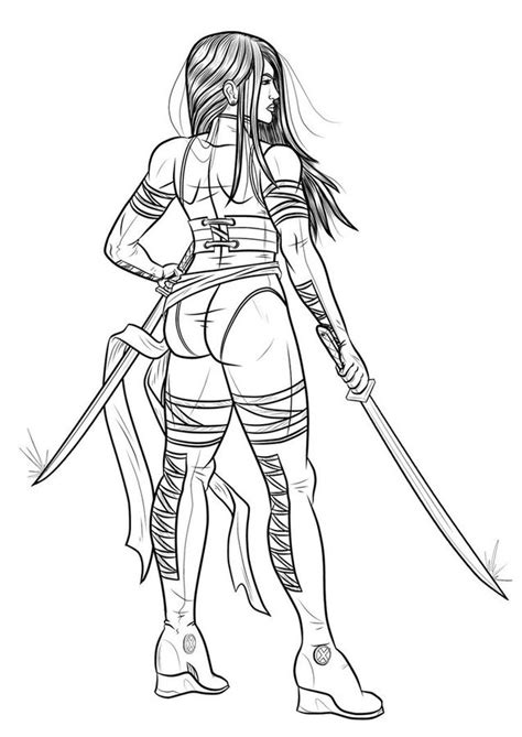 coloring pages psylocke printable  kids adults