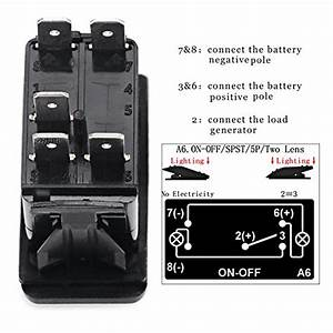 5 Rocker Switches Pin Led Light Bar Illuminated Toggle Waterproof Dc 20a 12v  10a 738920571071