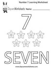Printable Number Worksheets Number 7 Worksheet Colouring Pages