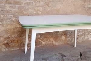 Table Pieds Compas : table vintage rallonge blanche et verte pieds compas ~ Teatrodelosmanantiales.com Idées de Décoration
