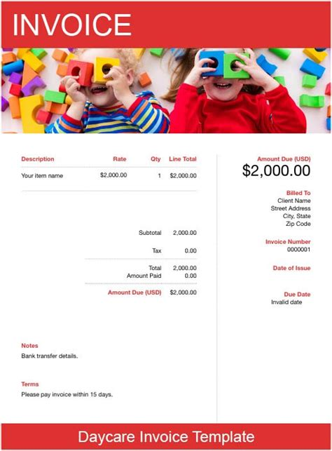 daycare invoice template   send  minutes