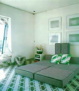 Retro Interior Design Motif: Green Diagonal Stripes Mirror80