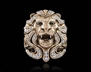 14k gold ring royal blood lion jawbone collection nightrider jewelry