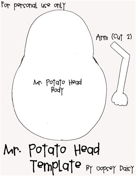 Free Coloring Pages Of Mr Potato Head Cut Out
