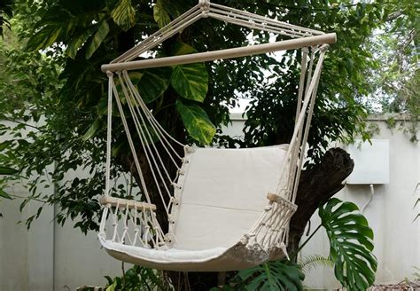 hammock chair hanging kit light beige padded hammock chair with wooden arm rests