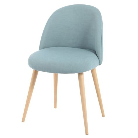 chaise pied en bois fabric and solid birch vintage chair in blue mauricette