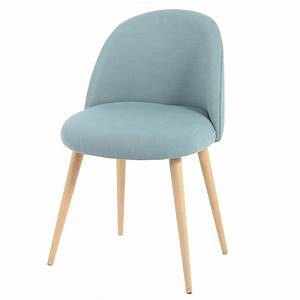 Fabric and solid birch vintage chair in blue mauricette for Deco cuisine avec chaise confortable