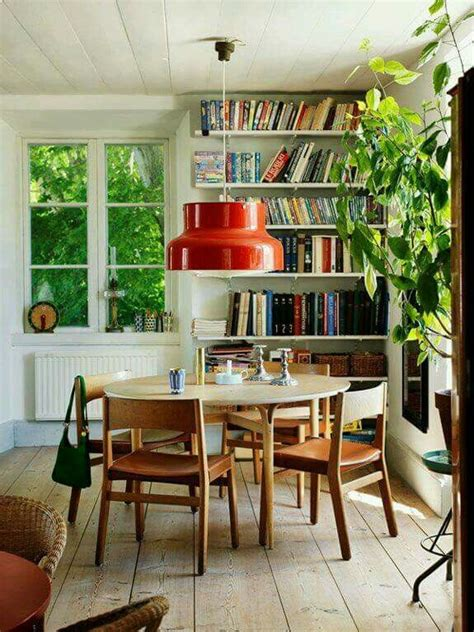 dining room inspiration white walls bookcase  wood