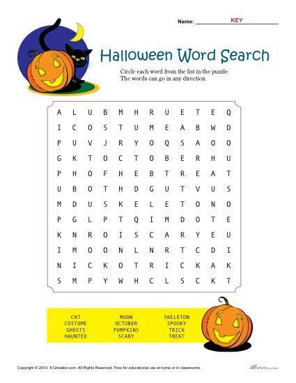 halloween worksheet word search