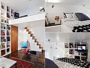 Kleine Wohnung Einrichten Ideen : kleine wohnung einrichten mit hochhbett wei 1 raum ~ Lizthompson.info Haus und Dekorationen