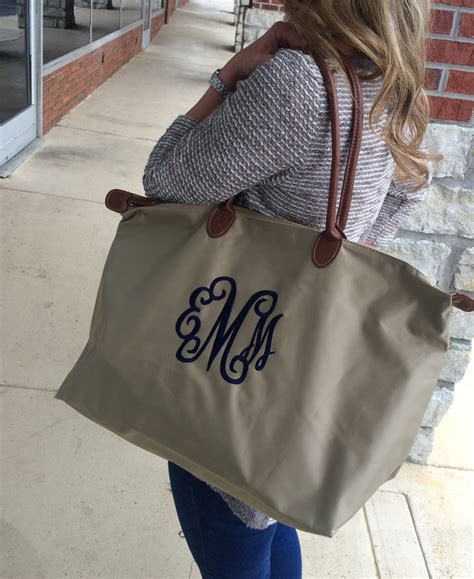 taupe khaki champ tote bag large monogram font shown