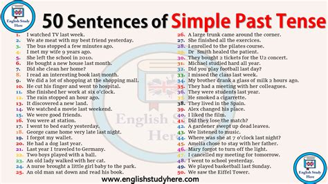 50 sentences of simple past tense study here