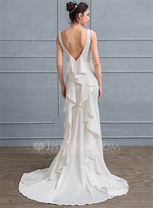 sheath column square neckline court train satin wedding With cascading ruffles wedding dress