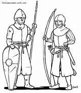Medieval Archer Ages Middle Drawing Soldiers Century Characters Line 11th Early Novel Character Fighter Getdrawings Knights Animation Military Concept Animated sketch template