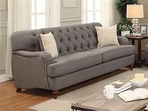 Aliza, Contemporary, Button, Tufted, Sofa, In, Plush, Dark, Gray, Fabric