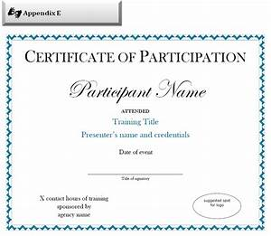 certificate of participation sample free download With certification of participation free template