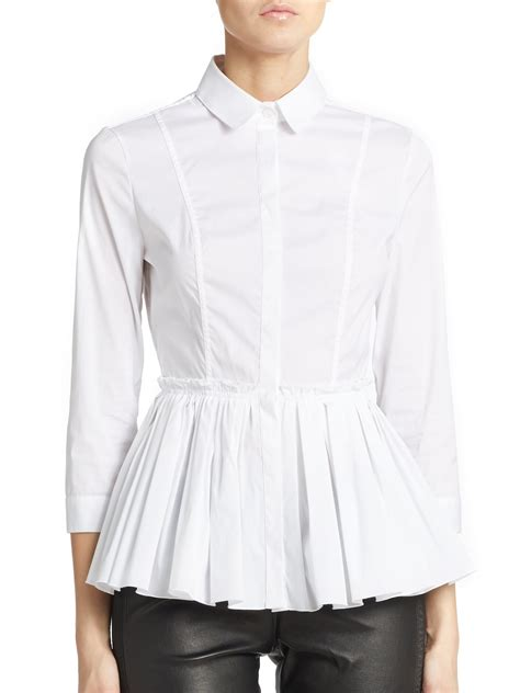cotton blouses burberry stretch cotton pleated peplum blouse in white lyst