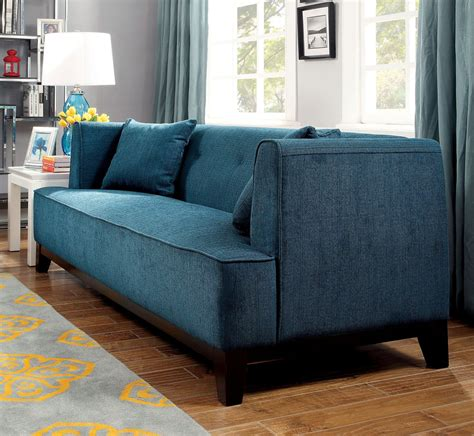 Teal Loveseat by Sofia Teal Living Room Set From Furniture Of America