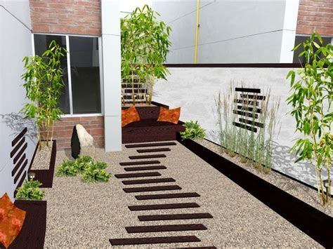 diseno de jardin minimalista  patio  madera piedras