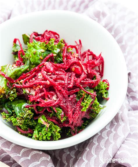 cuisine saine et bio recette détox salade de chou kale betterave et grenade