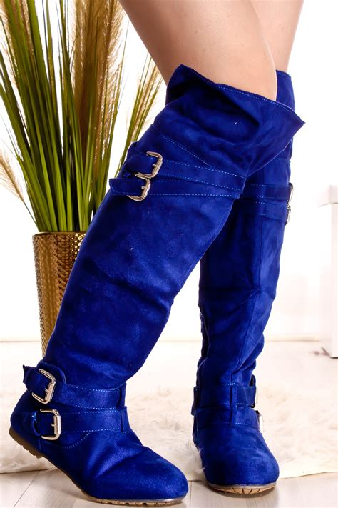 royal blue suede material  toe buckle straps