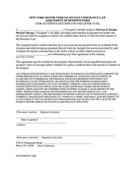 assignment of benefits form template 69 nys dmv forms and templates free to in pdf word and excel