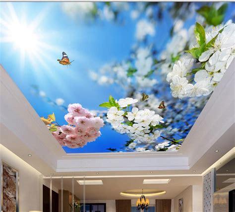 ceiling tiles blue sunshine  flowers custom