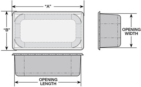 steam table pan size chart super pan flange and opening sizes