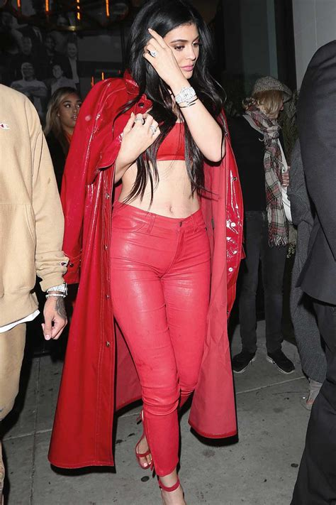 kylie jenner spotted  catch la  date night leather