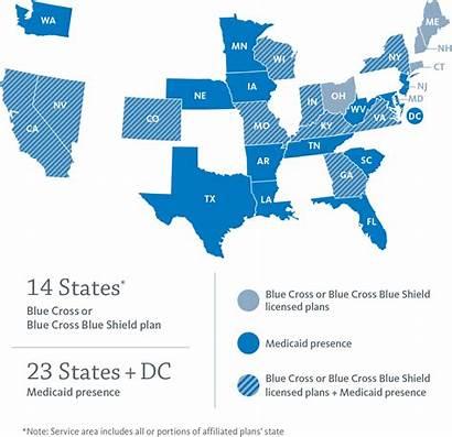 Anthem Company States Map Cross Shield Locations