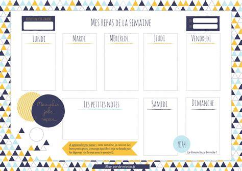 Imprimez votre planning des menus de la semaine. Menus de la semaine à imprimer - Plannings vierges PDF.