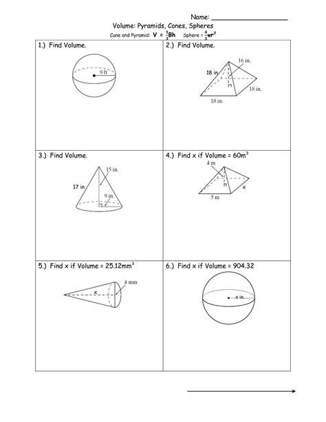 worksheet volume of spheres worksheet worksheet