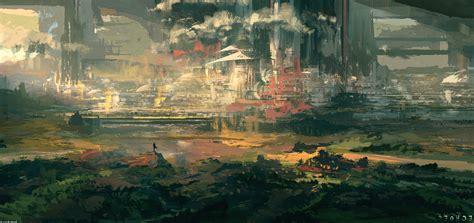 landscape city painting artwork digital art wallpapers