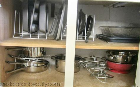 how to organize pots and pans in small kitchen organizing pots pans bake ware with dollar tree organizers 9923