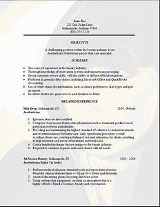 Job Resumes Samples Aesthetician Resume Occupational Examples Samples Free
