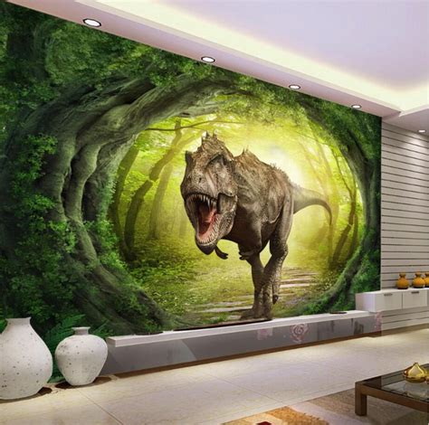 custom wallpaper  dinosaur world landscape forest tv