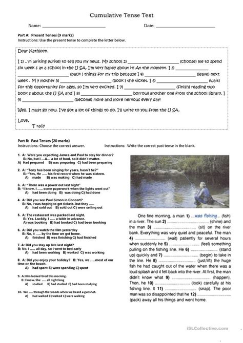 cumulative tense test worksheet  esl printable
