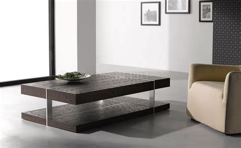 Wenge Zebrano Finish Modern Coffee Table Wmetal Accents