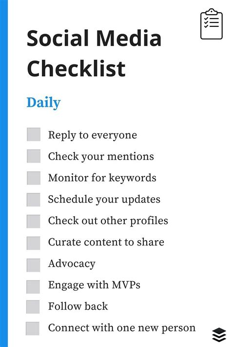 a daily weekly monthly social media checklist