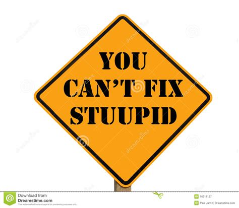 Road Sign Stating You Can't Fix Stupid Royalty Free Stock