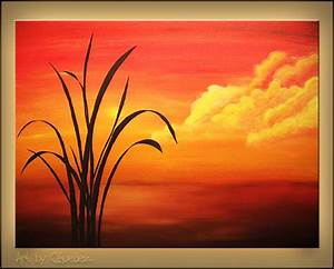 Easy Acrylic Painting On Canvas | Sunset Palm-Landscape ...