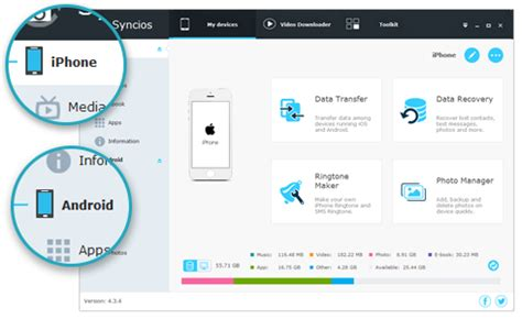 syncios  ios android manager tool transfer app