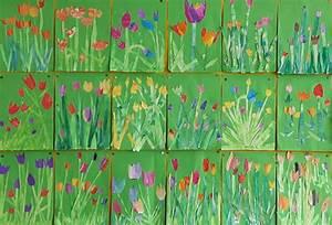Malen Mit Wasserfarben : tulpen mit wasserfarben als collage auf gr nem hintergrund klasse 1 kunstunterricht ~ Orissabook.com Haus und Dekorationen